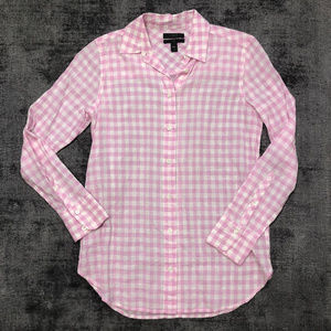 JCrew Pink/White Gingham Check Shirt Size 00P